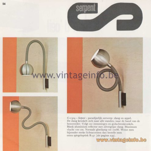 Raak Amsterdam Light Catalogue 8 - 1968 - Raak Serpent Wall Lamp C-1504