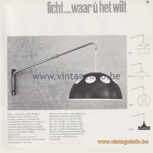 Raak Amsterdam Light Catalogue 8 - 1968 - Raak Wall Lamp C-1503 - Licht waar ù het wilt - Light were you want it