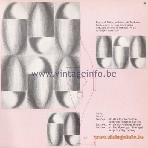 Raak Amsterdam Light Catalogue 8 - 1968 - Raak Wall Lamp C-1550 - Balas - Balance - Design Bertrand Balas