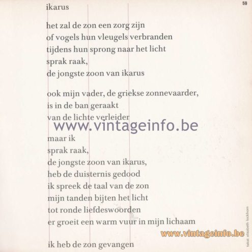 Raak Amsterdam Light Catalogue 8 - 1968 - Icarus - Poem
