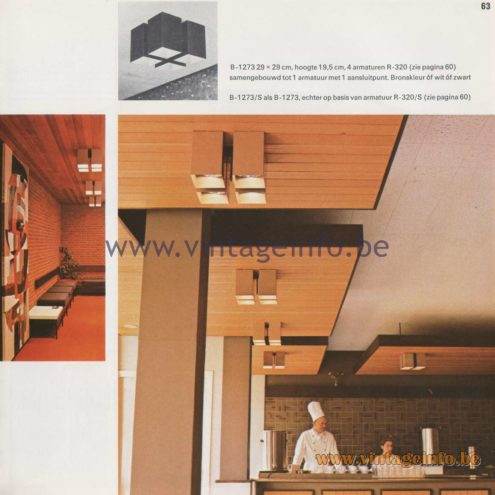 Raak Amsterdam Light Catalogue 8 - 1968 - Raak Flush Mount Viervoud and Achtvoud (Fourfold and Eightfold) B-1273