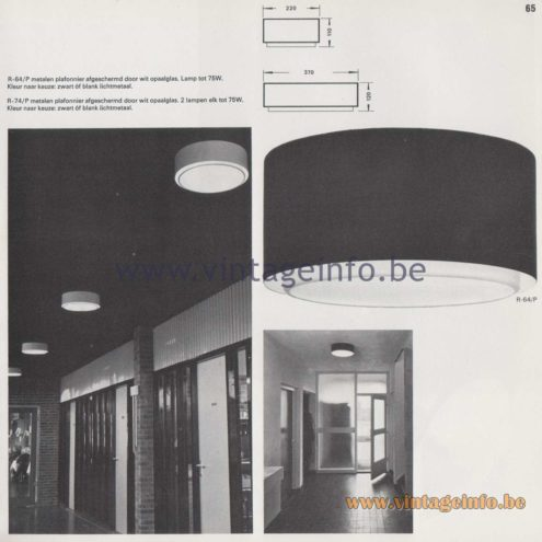 Raak Amsterdam Light Catalogue 8 - 1968 - Raak Flush Mount R-64, R-74 - metalen plafonier afgeschermd door wit opaalglas