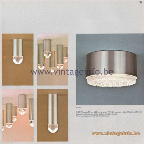 Raak Amsterdam Light Catalogue 8 - 1968 - Raak Flush Mount B-1015, B-1015 - Vierklank Kristal - Four-Tone Crystal and Raak Flush Mount R-66/P