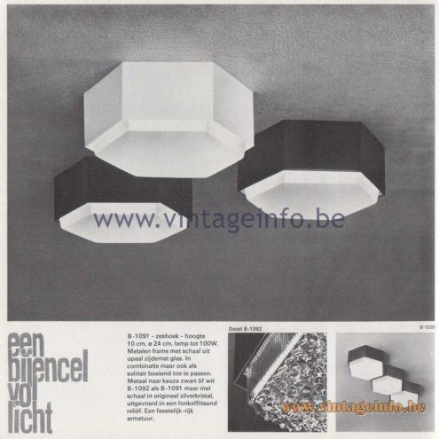 Raak Amsterdam Light Catalogue 8 - 1968 - Raak Flush Mount B-1091, B-1092 - Een bijencel vol licht - A bee cell full of light