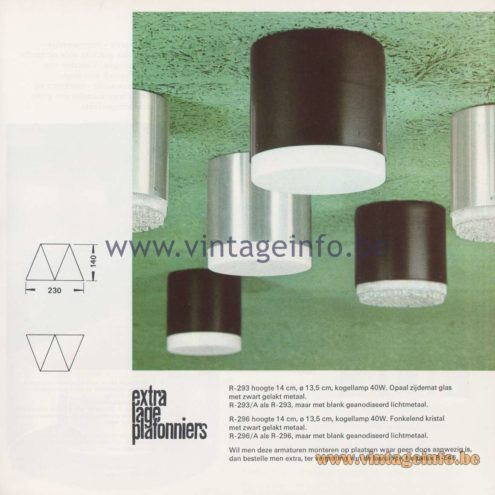 Raak Amsterdam Light Catalogue 8 – 1968 – Raak Flush Mount R-293, R-296 - extra lage plafonniers - extra low ceiling lights