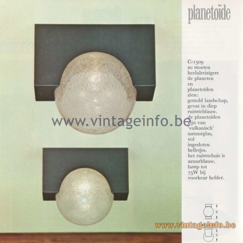 Raak Amsterdam Light Catalogue 8, 1968 – Raak Flush Mount C-1509 - Planetoïde - Asteroid