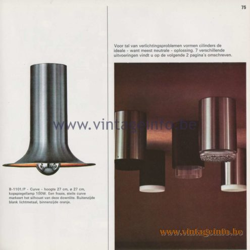Raak Amsterdam Light Catalogue 8 – 1968 – Raak Flush Mount B-1101/P Curve and R-546