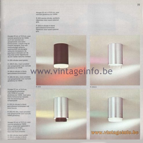 Raak Amsterdam Light Catalogue 8, 1968 – Raak Flush Mount R-252, R-253, R-255, R-256