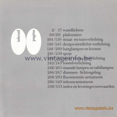 Raak Amsterdam Light Catalogue 8 - 1968 - index