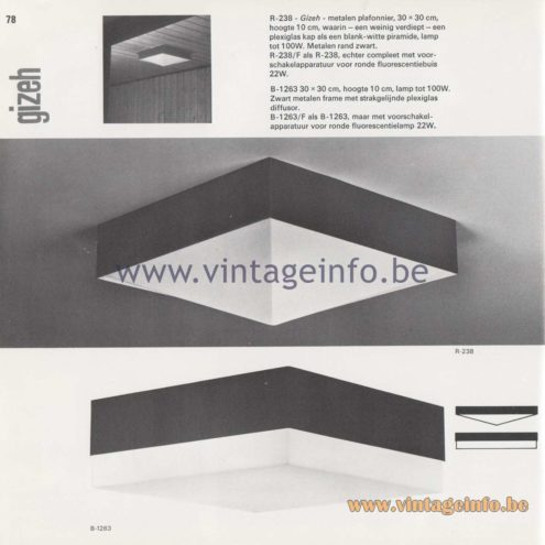Raak Amsterdam Light Catalogue 8, 1968 – Raak Flush Mount R-238 Gizeh and B-1263