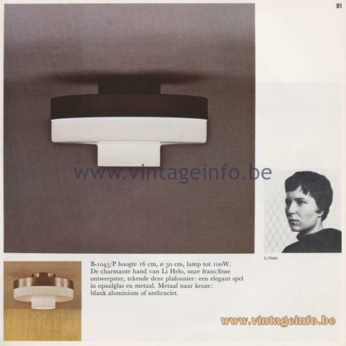 Raak Amsterdam Light Catalogue 8 - 1968 - Raak Flush Mount B-1045/P - Design: Li Helo