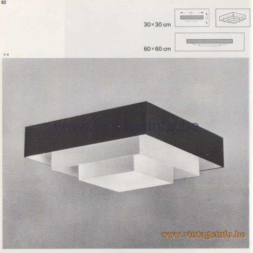 Raak Amsterdam Light Catalogue 8 - 1968 - Raak Flush Mounts R-8, R-88