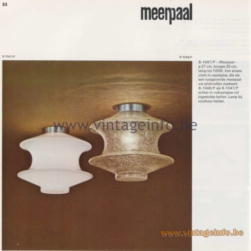 Raak Amsterdam Light Catalogue 8 - 1968 - Raak Flush Mounts B-1047/P, B-1048/P - Meerpaal