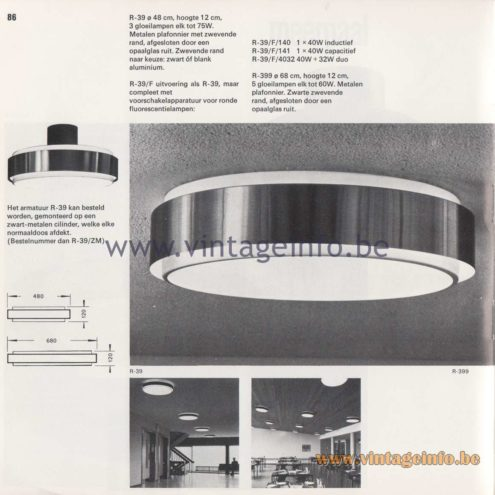 Raak Amsterdam Light Catalogue 8 - 1968 - Raak Flush Mounts R-39, R-39/F, R-399