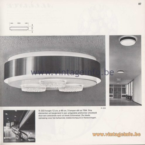 Raak Amsterdam Light Catalogue 8 - 1968 - Raak Flush Mount R-333