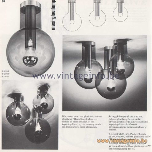 Raak Amsterdam Light Catalogue 8 - 1968 - Raak Flush Mounts B-1259/P, B-1260/P, B-1261/P - Maxi-Gloeilamp (maxi light bulb)