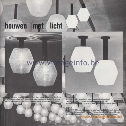 Raak Amsterdam Light Catalogue 8 - 1968 - Raak Flush Mounts B-1216/P, B-1217/P - bouwen met licht - building with light