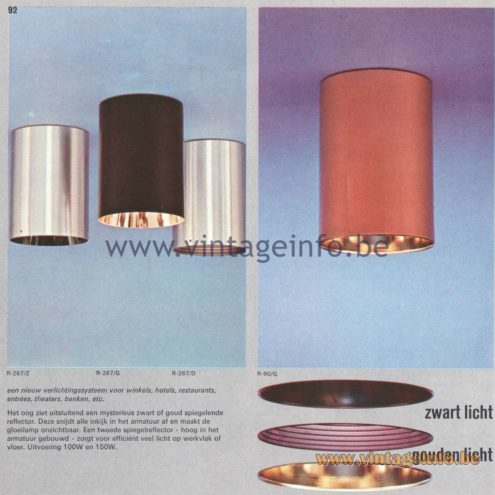 Raak Amsterdam Light Catalogue 8 - 1968 - Raak Flush Mounts R-267/Z, R267/G, R-267/D, R-90/G