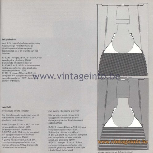 Raak Amsterdam Light Catalogue 8 - 1968 - Raak Flush Mounts R-90/Z, R-90/Z/S, R267/Z, R-267/D, R-90/D, R-90/D/S