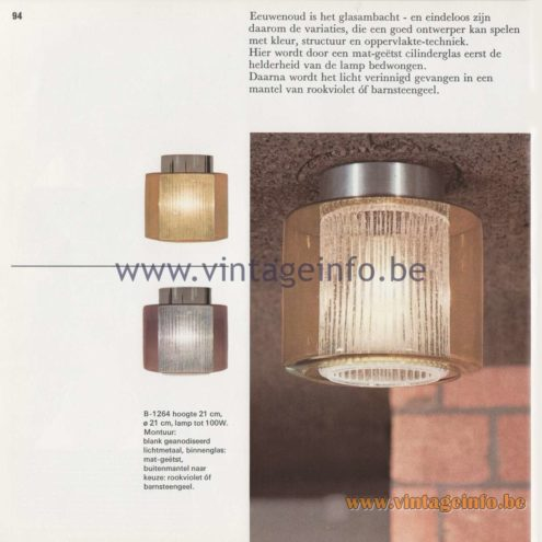 Raak Amsterdam Light Catalogue 8 - 1968 - Raak Flush Mount B-1264
