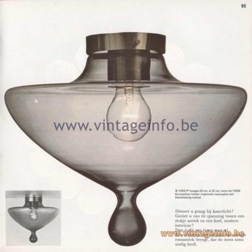 Raak Amsterdam Light Catalogue 8 - 1968 - Raak Flush Mount B-1052/P - High Chaperal