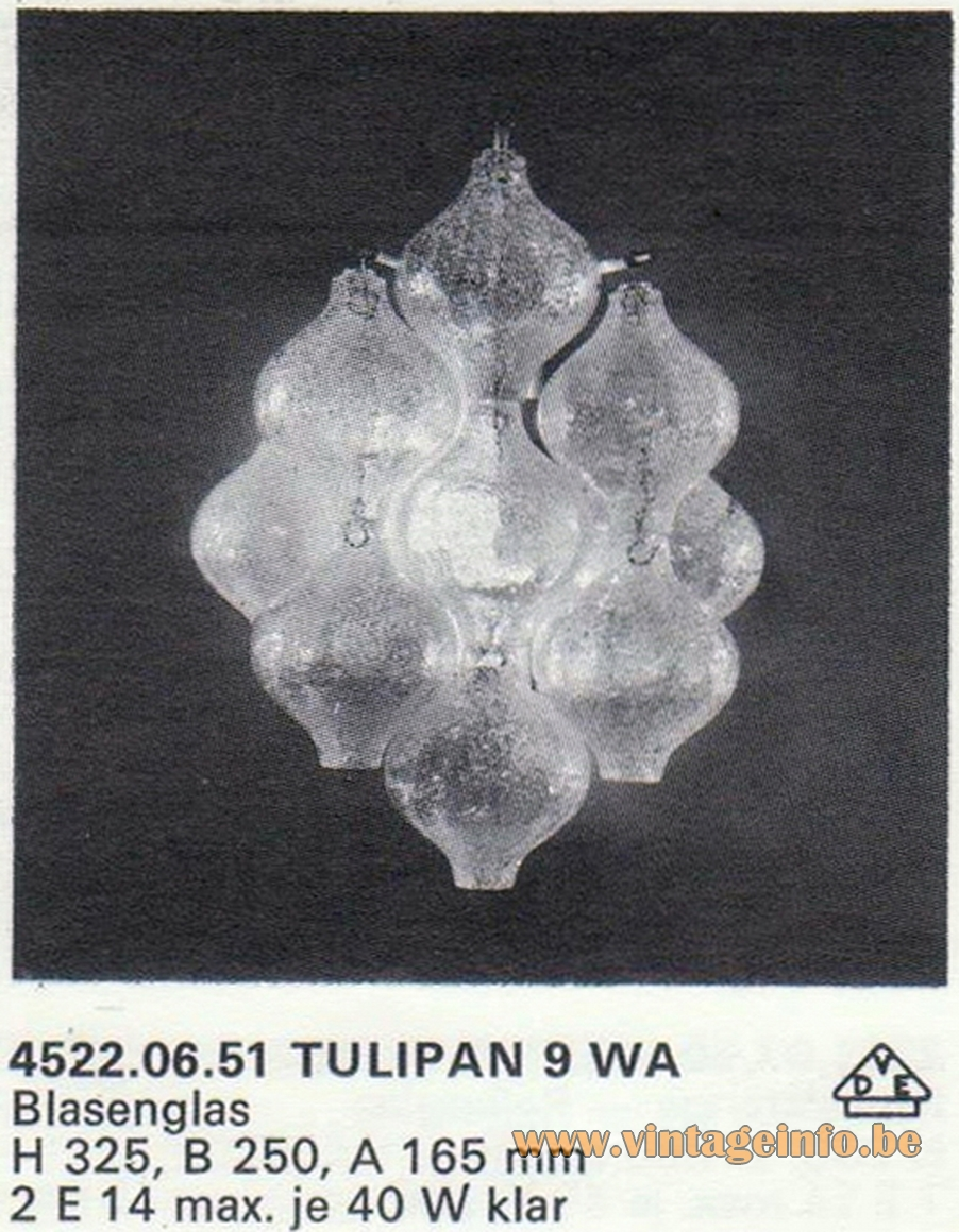 Kalmar Tulipan Bubble Glass Wall Lamp 9 WA - Catalogue 1972