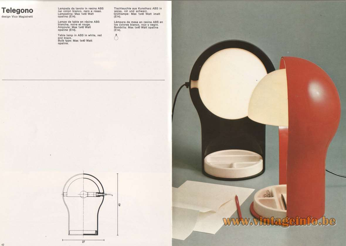Artemide Telegono desk lamp, design Vico Magistretti