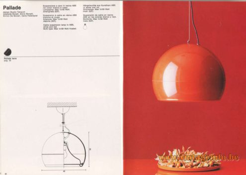 Artemide Pallade Pendant Lamp - Artemide Catalogue 1976