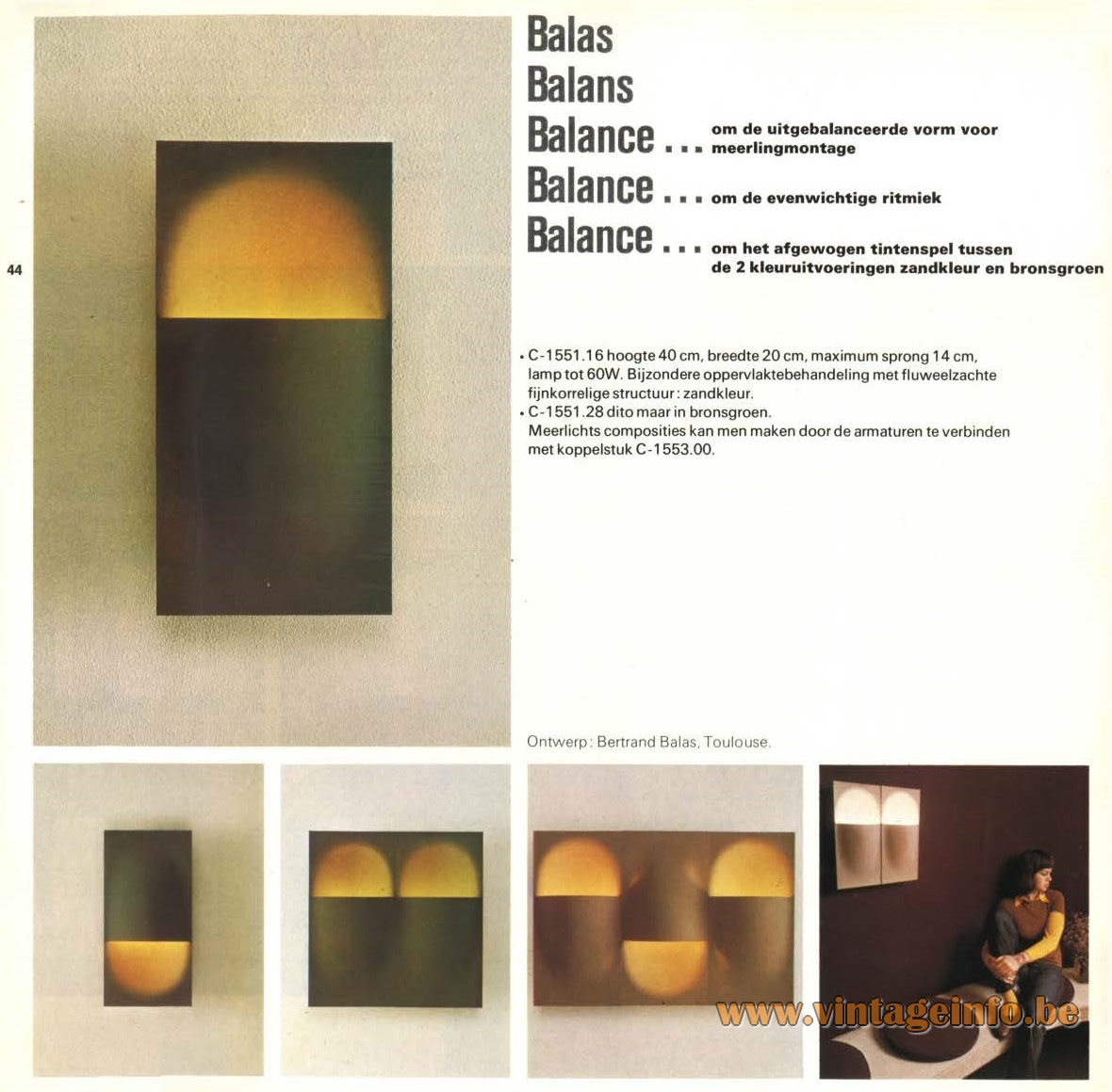 Raak Amsterdam Light Catalogue 9, 1972 - Raak Balas, Balans, Balance Wall Lamp – C-1551