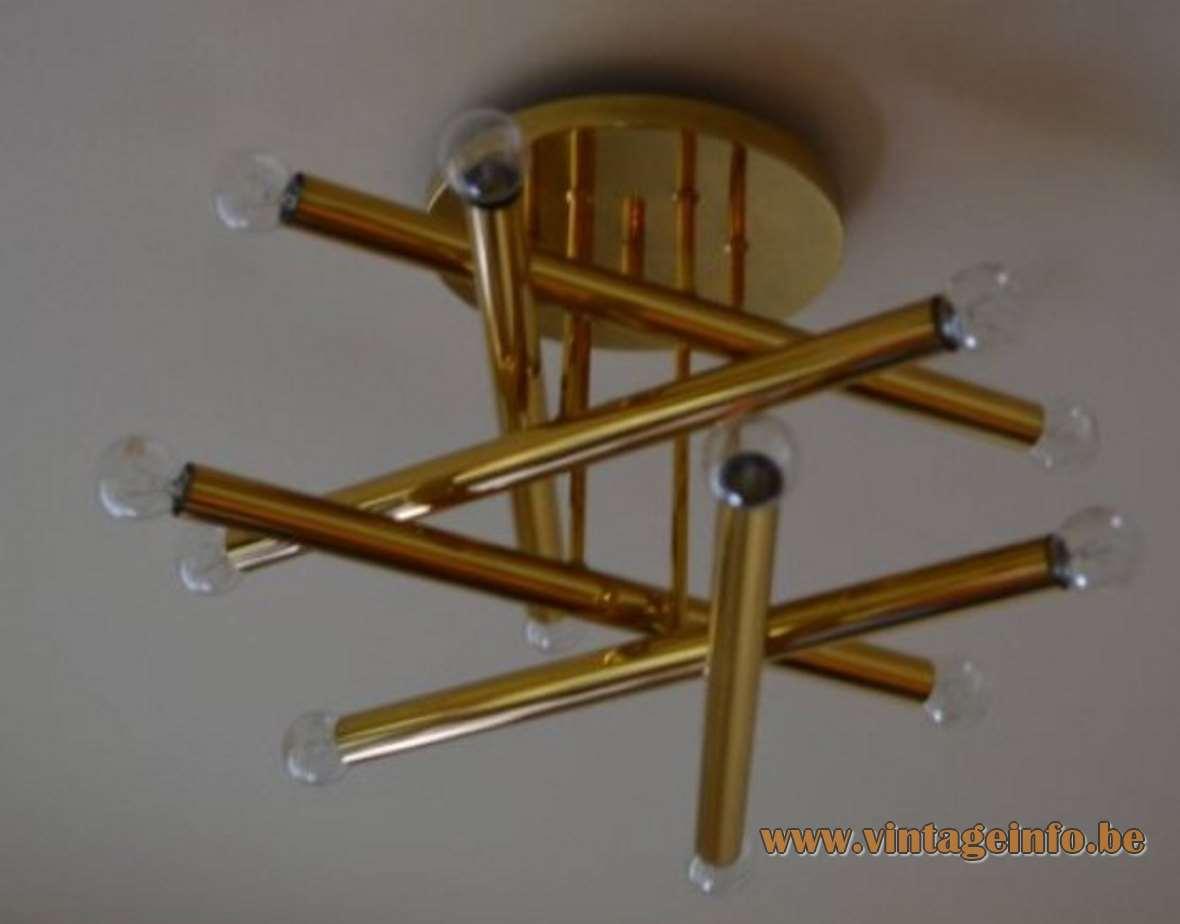Gaetano Sciolari Chrome Tubes Flush Mount - BRass version