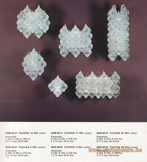 "Kalmar Tulipan Wall Lamps. Design: Julius Kalmar, hand blown ""Tulipan' tulip/onion glass bulbs. Catalogue picture"