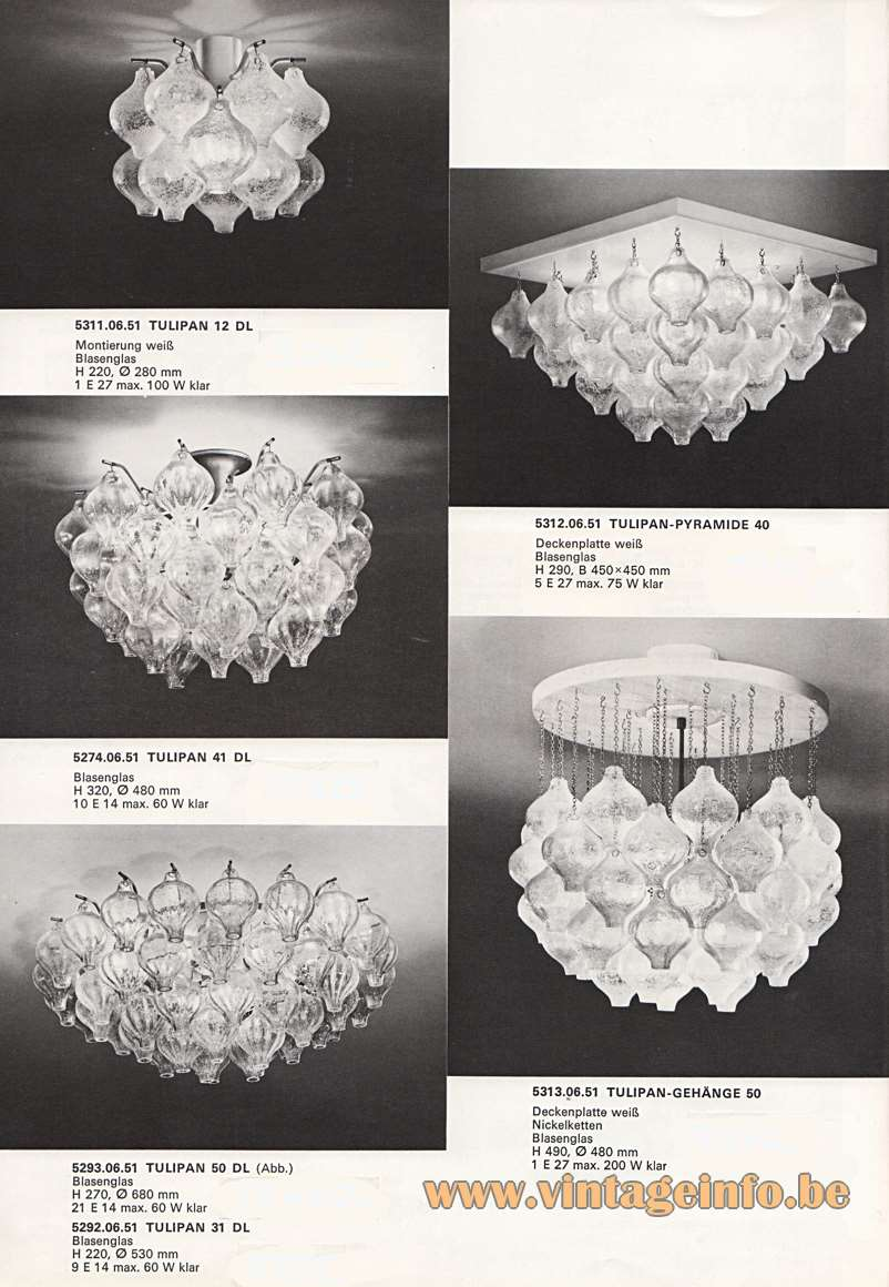 "Kalmar Tulipan Chandeliers & Flush Mounts. Design: Julius Kalmar, hand blown ""Tulipan' tulip/onion glass bulbs - Catalogue picture 1970"