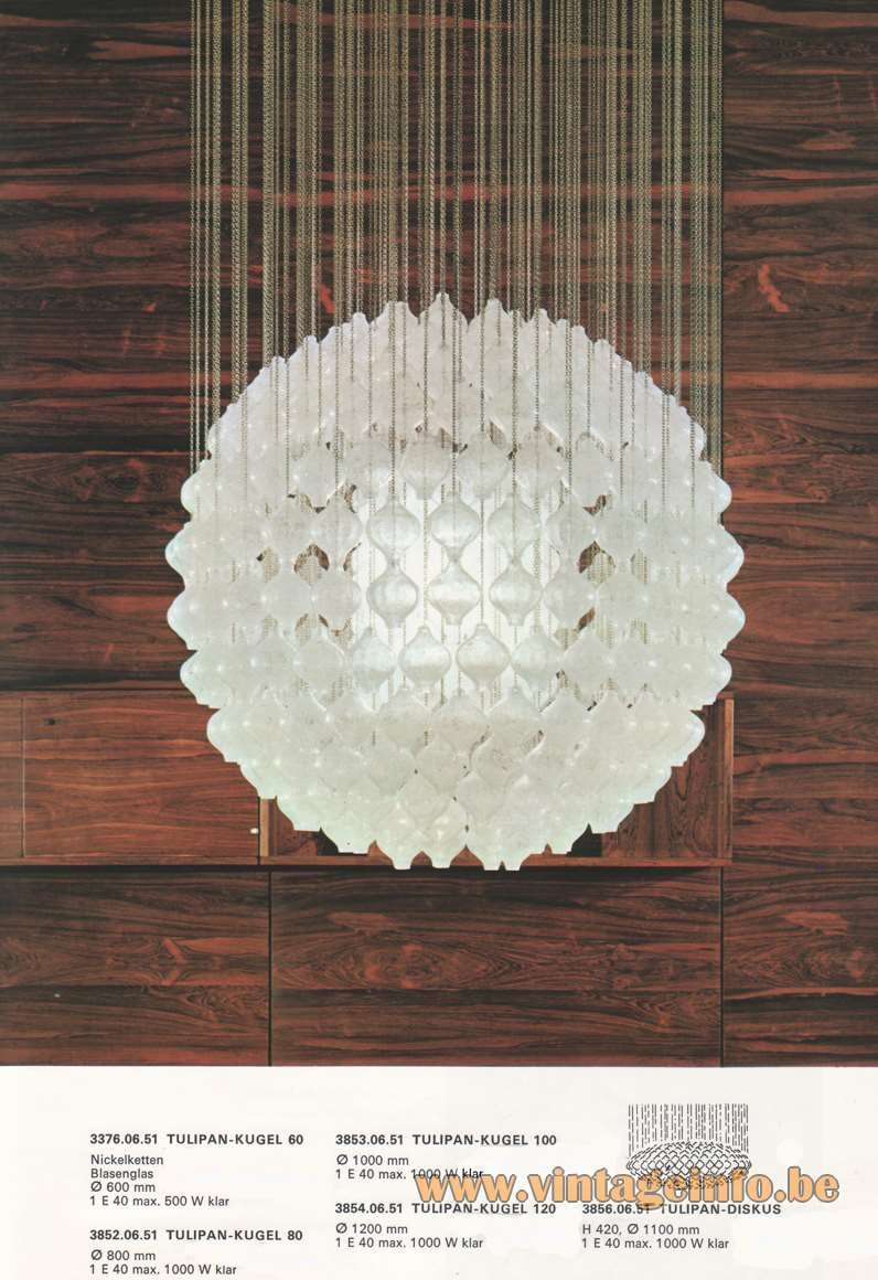 "Kalmar Tulipan Globe Chandelier Design: Julius Kalmar, hand blown ""Tulipan' tulip/onion glass bulbs - Kalmar catalogue 1970"