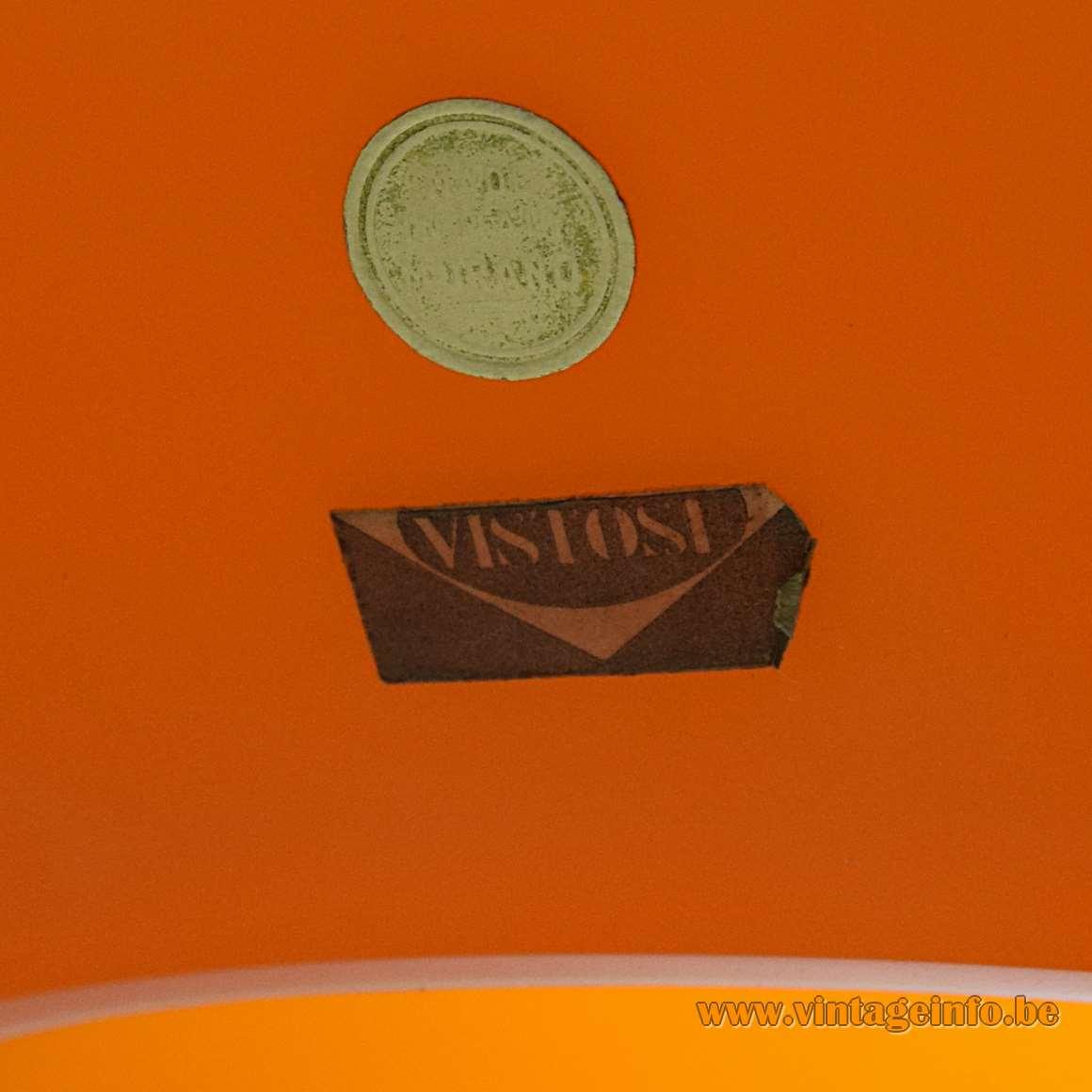 Vistosi orange Onion pendant lamp round Murano label rectangular Vistosi label 1950s 1960s Italy