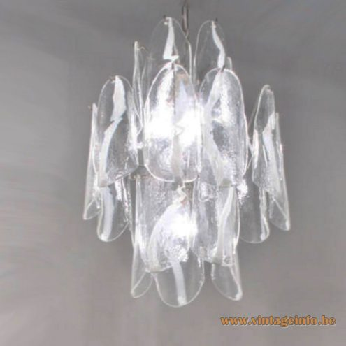 AV Mazzega Amber Crystal Glass Chandelier - White and clear glass version