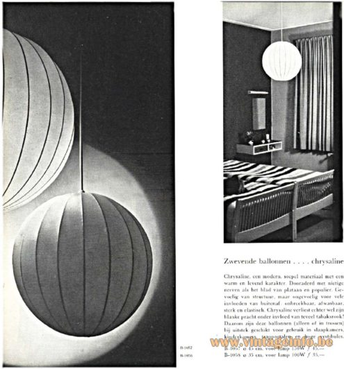 Raak Chrysaline Pendant Lamp B-1057 in the Raak catalogue 5 from 1962