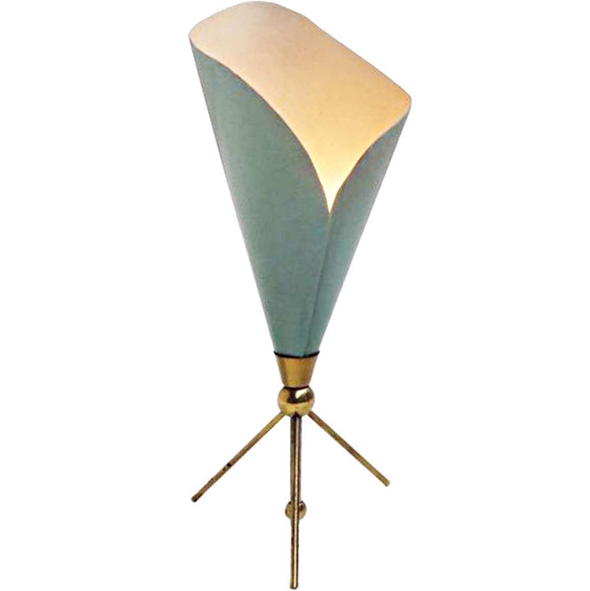 Angelo Lelii Calla Table Lamp conical folded aluminium green painted lampshade brass tripod base 1950s 1960s MCM