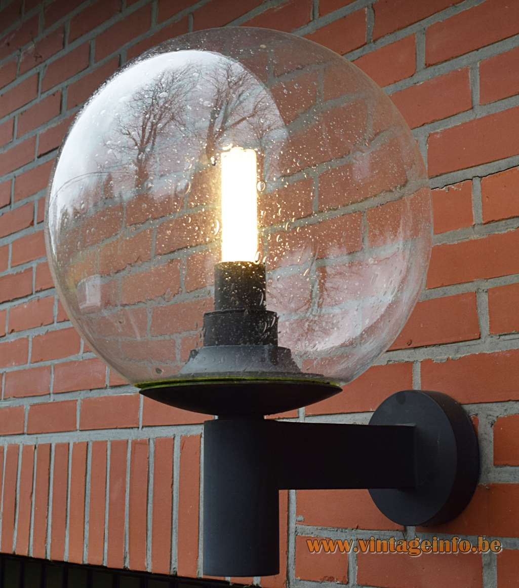 Bega garden wall lamp model 5748 bubble glass black metal frame