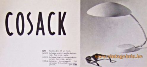 1950s Cosack Desk Lamp - Catalogue picture - Produced by Gebrüder Cosack (Gecos)