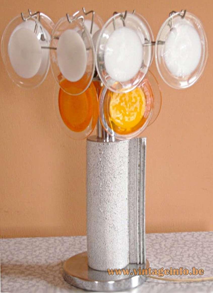 Gino Vistosi Blue & Pink Discs Chandelier - Gino Vistosi White & Orange Discs Table Lamp