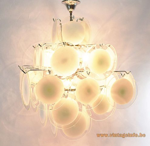 Gino Vistosi Discs Chandelier Different model, 36 white and translucent discs