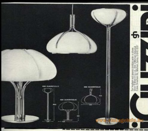 Harvey Guzzini Quadrifoglio lamp collection in the catalogue