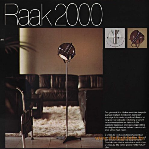 Raak Globe Floor Lamp - Raak 2000 Floor Lamp - Catalogue 9 - 1972