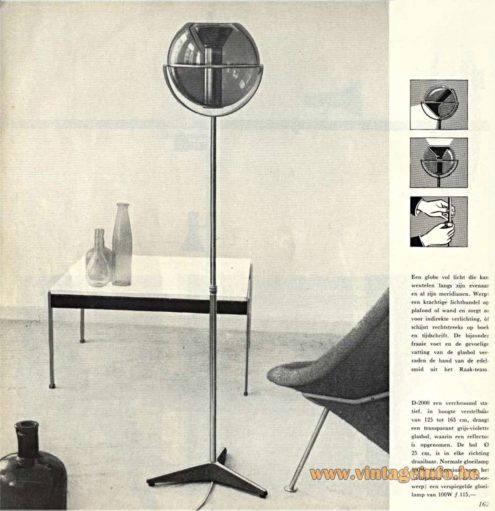 Catalogue 5 - 1962 - Raak Globe Floor Lamp