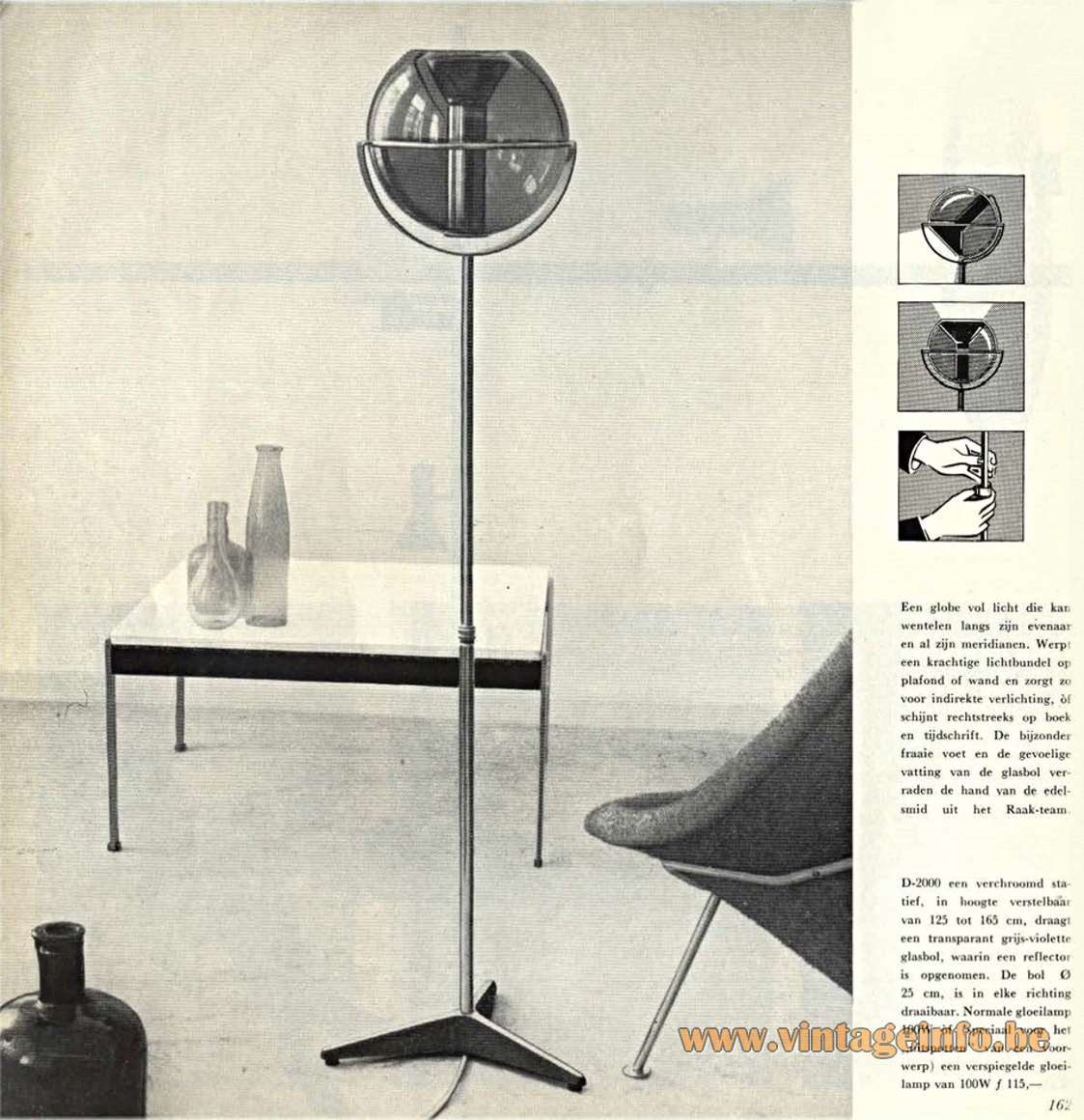 Raak Globe Floor Lamp Designer: Frank Ligtelijn, Model D-2000, 50s/60s/70s, smoked glass, chrome