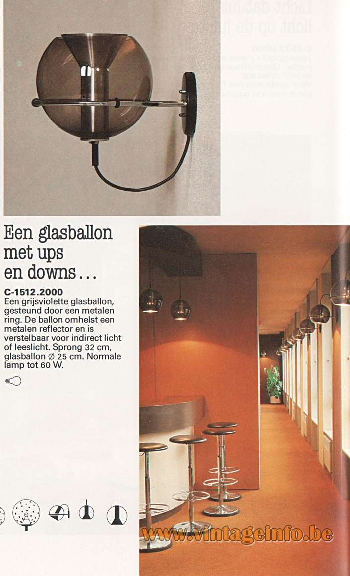 Raak Globe Wall Lamps - Catalogue 12 - 1982