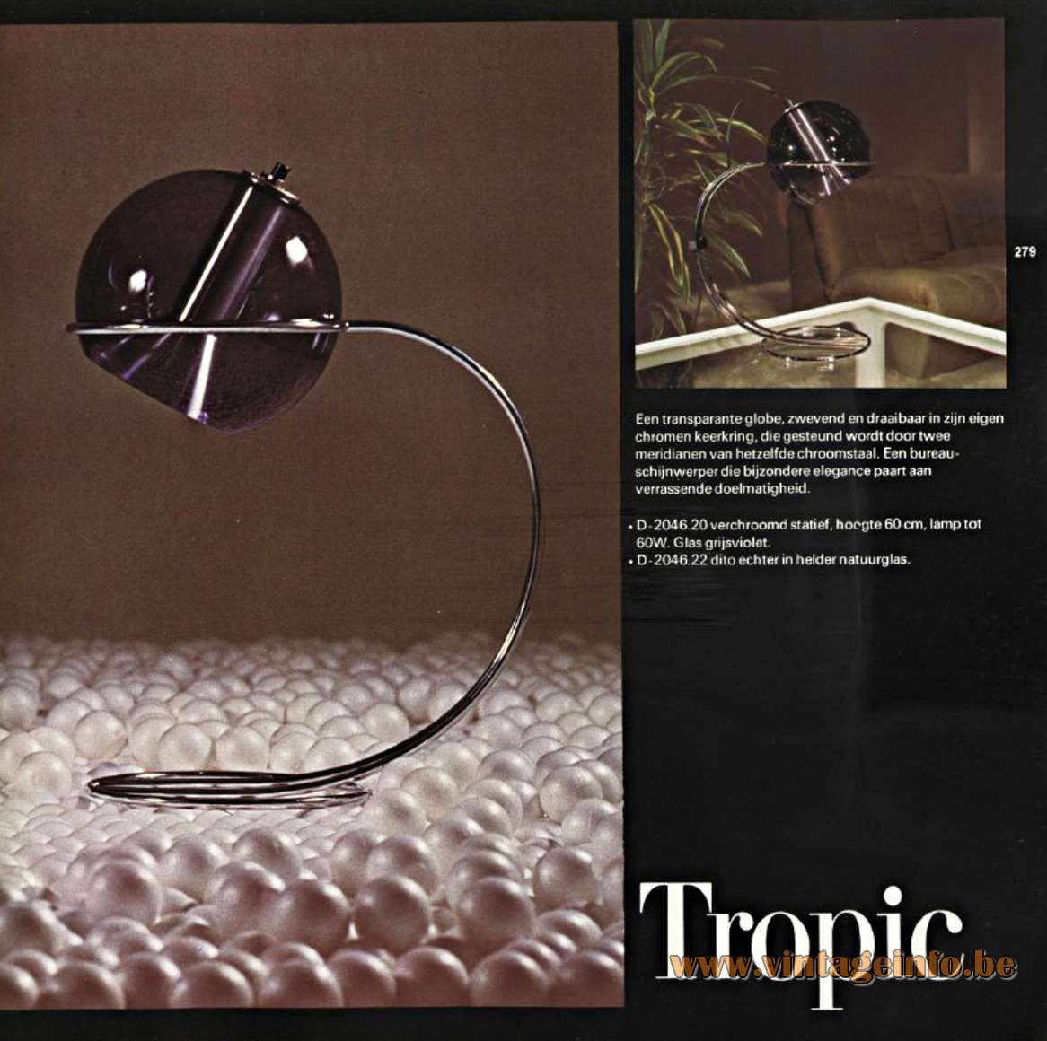 Raak Globe Floor Lamp - Raak Tropic Table Lamp - Catalogue 9 -1972