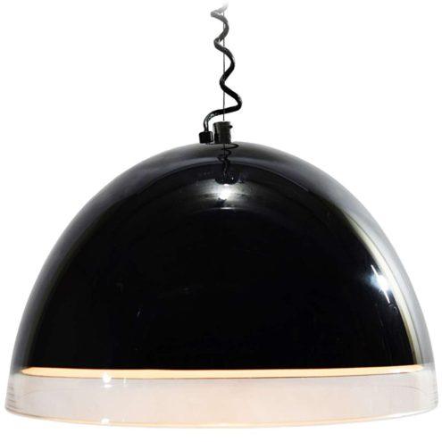 iGuzzini Baobab pendant lamp black and clear acrylic Perspex made by Harvey Guzzini E27 socket 1970s