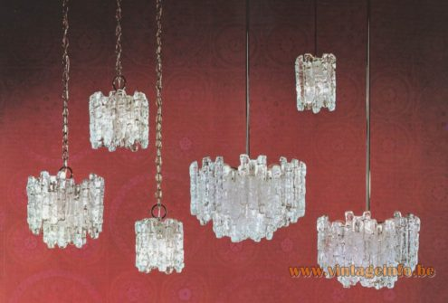 AV Mazzega Ice Block Chandelier - Kalmar Sierra lamps made by AV Mazzega