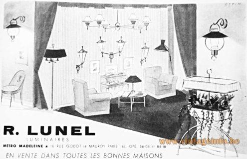 Lunel, Paris, France, lighting publicity 1954